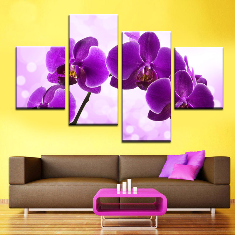 Unframed 4panel Purple Orchid Flower Modern Print Picture Canvas ...