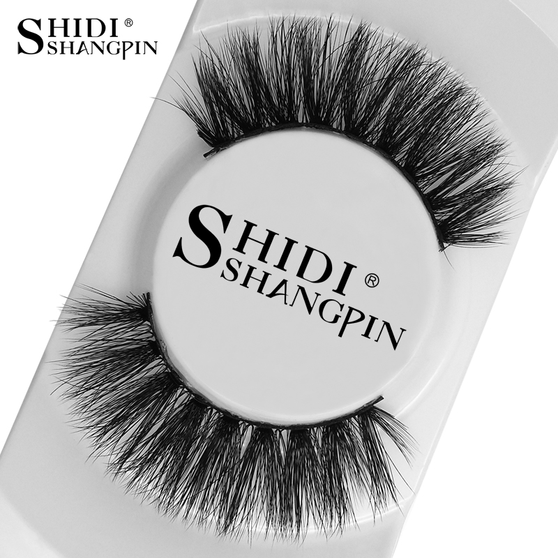 SHIDISHANGPIN 1 Par 3d Mink Lashes Natural Long 3d False Eyelashes Håndlavet Mink Øjenvipper 1cm-1.5cm Makeup False Lashes