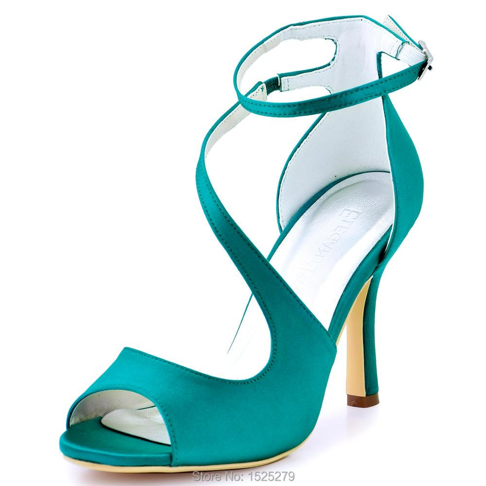 HP1565 Women Summer Sandals Peep Toe High Heels Cross ankle Strap Satin lady bride Wedding bridal shoes Party Pumps Teal Blue