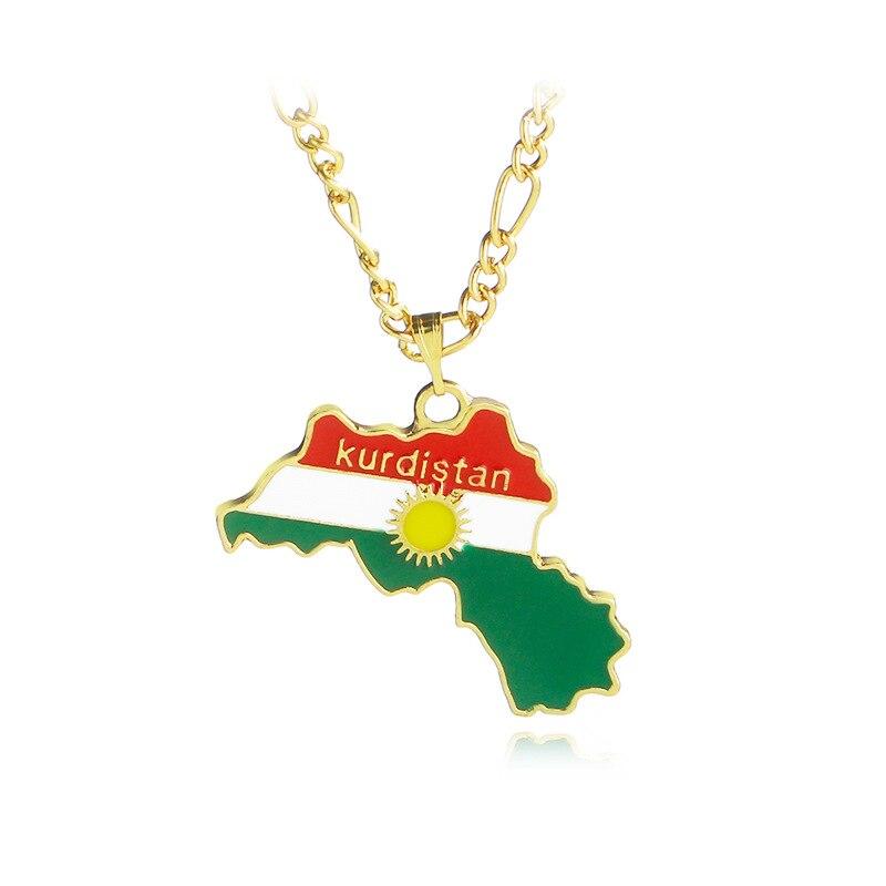 Fashion Kurdistan Gold Enamel Pendant Necklace Stylish Kurdistan Flag Region Map Statement Choker Necklace Kurdish Chain Jewelry Ожерелье