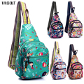 Casual Women Waterproof Nylon Harajuku Style Cute Cartoon Floral Printed Single Shoulder Chest Bag Pack Purse For Girl Hot Sale