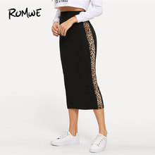 ROMWE Contrast Leopard Panel Wide Waistband Skirt 2019 Fashion Spring Autumn Skirts Chic Party Leopard Women Bodycon Skirt