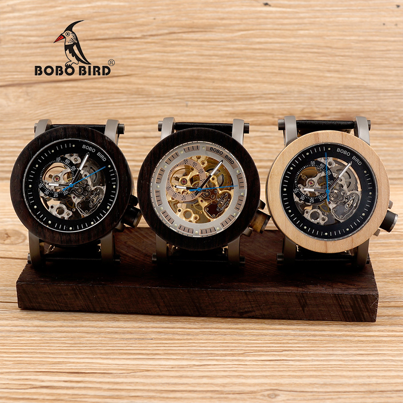 BOBO BIRD Automatic Self-Wind Mechanical Men Wooden Watch Leather Strap Luxury Uomo Orologio Can Dropshipping Cf-K10 K11 K14 ultra luxury 2 3 5 modes german motor watch winder white color wooden black pu leater inside automatic watch winder