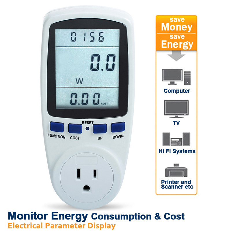 Plug-in Power Consumption Meter Energy Electricity Usage Watt Calculator Monitor free shipping