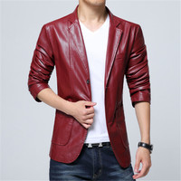2018 New Brand Men's Blazer Jacket Men Soft PU Leather Coat Male Fashion Khaki Blazer Masculino Slim Fit Suit