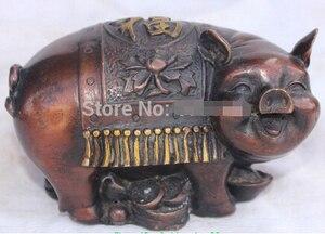 0 Chinese Bronze Gilt Lucky Wealth YuanBao Money Pig Swine Animal Fu Foo Statue