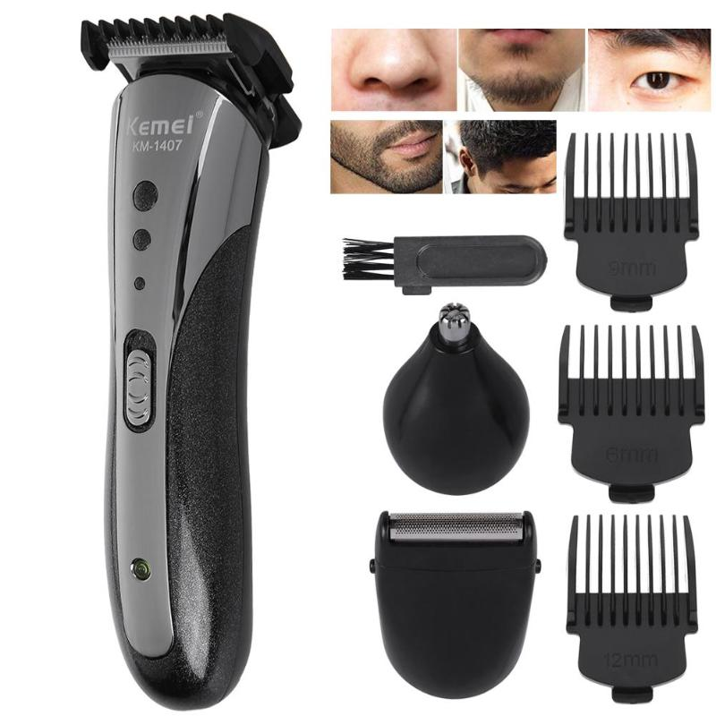 KM-1407 Hair Trimmer Rechargeable Electric Nose Hair Clipper Professional Electric Razor Beard Shaver Men's Haircut Hairdresser