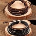 Obaby joyería moda europea DIY pulsera de cuero Multi-layer pulsera de cuero del todo fósforo pulsera de cera cuerda para mujeres