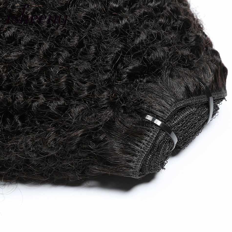 Isheeny Afro Kinky Krullend Clip In Hair Extensions 8 Stks/set Braziliaanse Remy Menselijk Clip Hair 120G Clip Volledige Hoofd natuurlijke Kleur