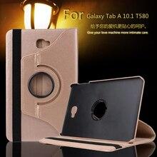 """360 Grados de Rotación Litchi Folio PU Del Soporte Del Cuero Caso de La Piel T580 T585 cubierta Para Samsung Galaxy Tab 10.1 10.1 """"Tablet + Film + Pluma"""