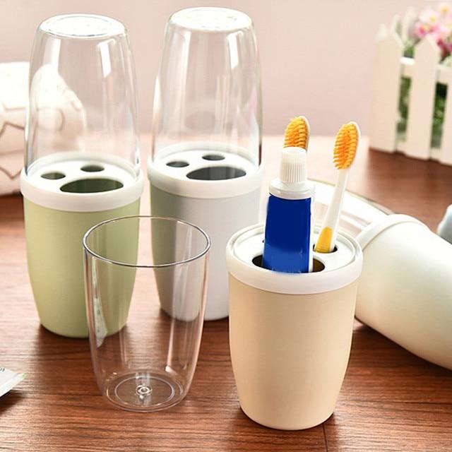 Creative Couple Toothbrush Cup Rinse Mug Holder Stand Bathroom Cute Plastic Set