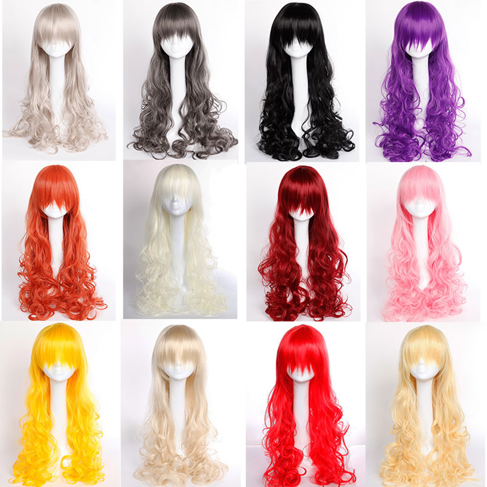 Multicolor Fashion Cosplay Party Long Wig 80cm Thick Curly Wavy Synthetic Full Wigs Rainbow Women Sexy & Vogue Dress Halloween