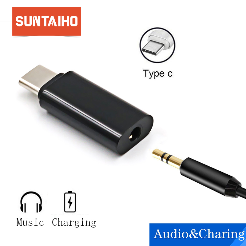 Suntaiho Type C 3.5 Jack Earphone Cable USB C to 3.5mm AUX Headphones Adapter For Huawei mate 10 P20 pro Xiaomi Mi 6 8 6X Mix 2s