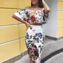 Sexy Off Shoulder Crop Top Pencil Midi Dress 2 Pieces Set Boho Strapless Floral Printed Bodycon Sets Casual Piece Outfit