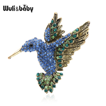 Wuli&baby Pink Blue Rhinestone Hummingbird Brooches Women Men Vintage Animal Brooch Pins Gifts