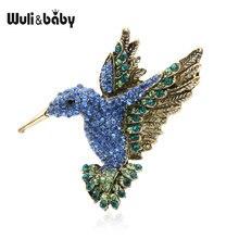 Wuli & baby розовые Синие стразы колибри броши для женщин и