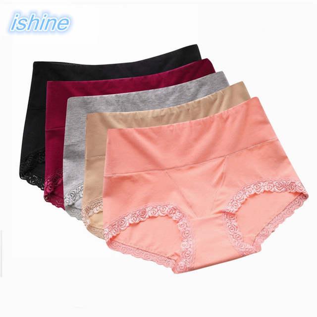 9f71585db placeholder 100% Algodão Lingerie Sem Costura das Mulheres Calcinha de Renda  Preta Vermelha-Cintura Alta