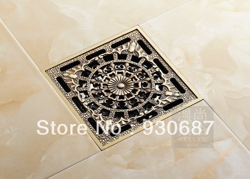 ФОТО Extra Large Antique Brass 10cm Square Bathroom Floor Drain Shower Waste Water Strainer
