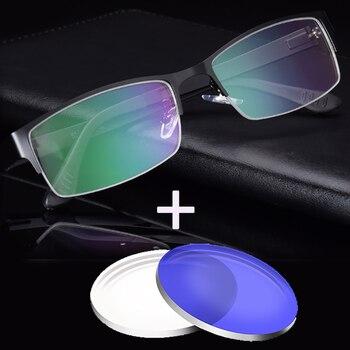 b75e171d17 1,56 1,61 1,67 1,74 índice óptico prescripción Anti azul luz Oculos miopía  Multifocal lente hombres gafas marco cuadrado