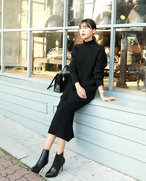 Korea Winter Long Sleeve Knit Turtleneck Sweater Slim gorgeous beautiful women oversize loose leisure big bust size Dress