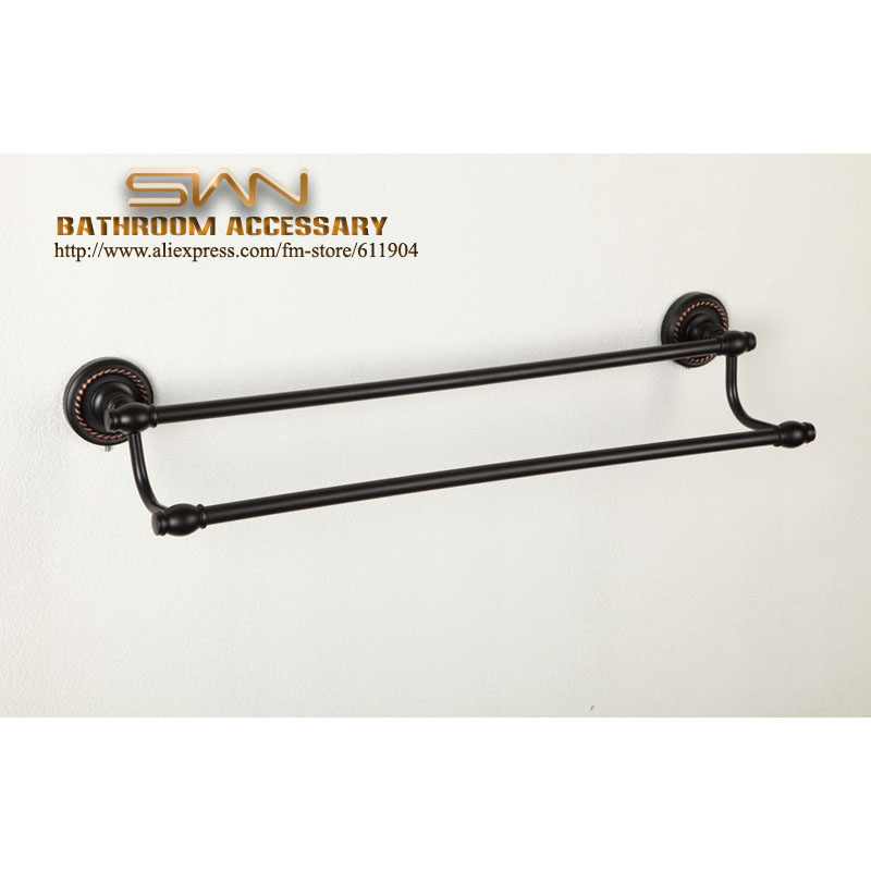 Oil Rubbed Bronze ORB   24 Bathroom Towel Bar Rack Rail Dual Holders  3EA0121 allen roth brinkley handsome oil rubbed bronze metal toothbrush holder