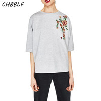 New Summer European Half Sleeve Tee Shirt Femme Flower Embroidered Fashion Women Tops T Shirt Xdb7209