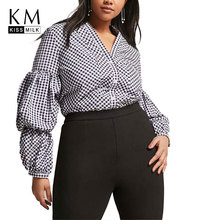 Kissmilk Plus Size Plaid Deep V Neck Cascading Puff Sleeve Shirts Casual 2018 New Fashion Women Autumn Long Blouse