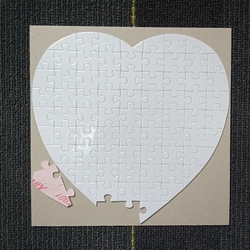 Free Shipping 10pcs Sublimation Blank Puzzle DIY Craft Heart Jigsaw Puzzle