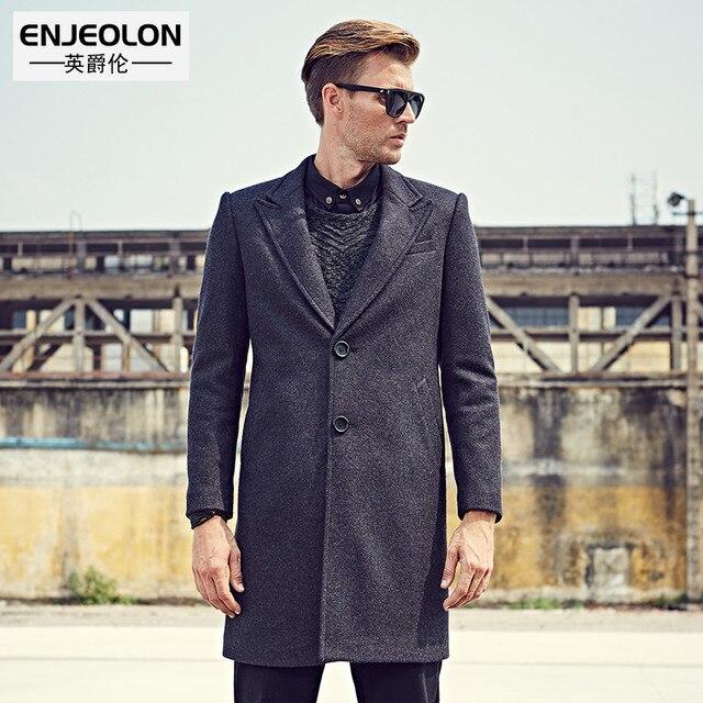 Enjeolon бренд Для мужчин повседневная X-длинная шерсть и смесь куртка мужской однобортный шерстяные пальто Верхняя одежда ветровка Бесплатная доставка WT0811