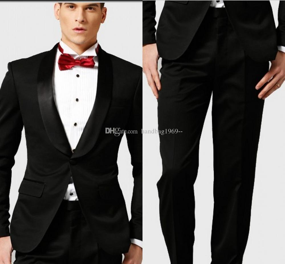 Groom Tuxedos One Button Black Shawl Lapel Best Man Groomsmen Mens