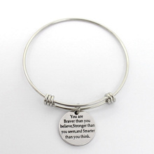 "5 Pcs High Quality ""You Are Braver Than You Believe "" Stamped Charm Bracelet Stainless Steel Expandable Wire Bangle Bracelet"