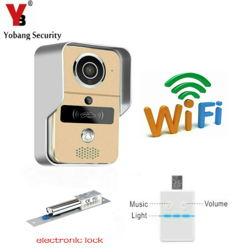 YobangSecurity Wireless WiFi Video Door Phone Doorbell Doorphone Intercom with Electronic Lock,Music bell App iOS and Android brand new wifi wireless video door phone door bell intercom systems app can be run in android and ios devices free shipping