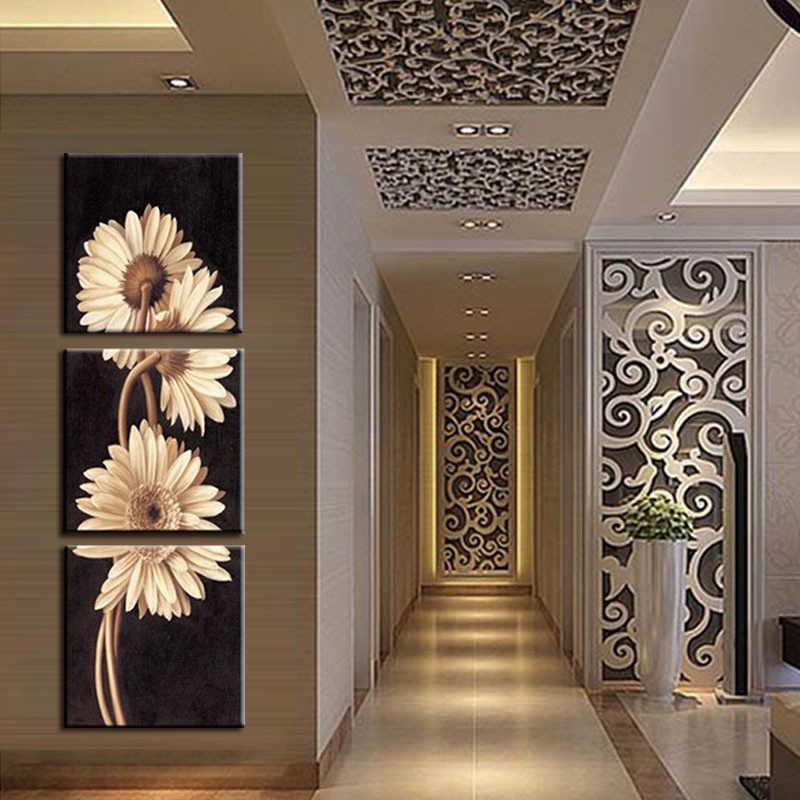 3 قطعة الصور زيت عباد الشمس اللوحة على قماش جدار رخيصة لوحات الفن الحديث hd طباعة decoracion كوادروس إطار الصورة