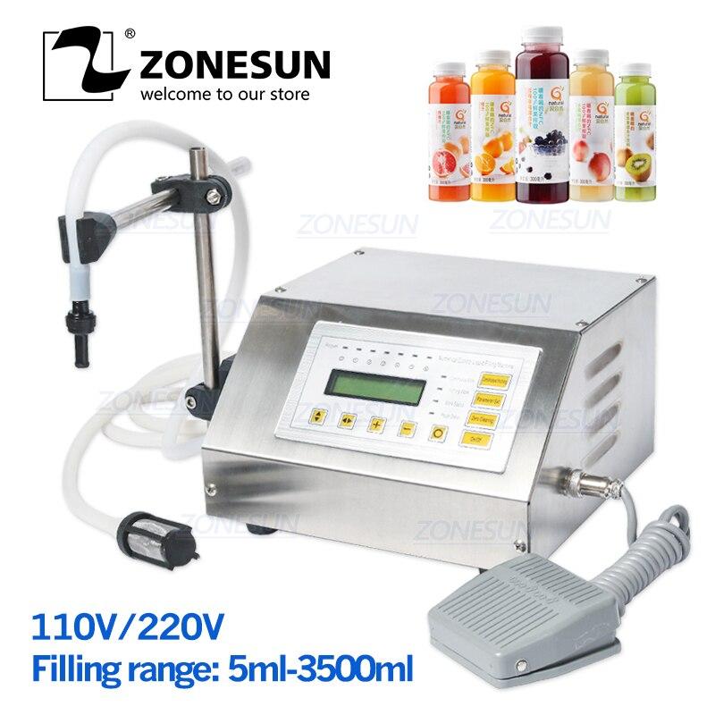 ZONESUN Microcomputer Control Automatic Water Alcohol Liquid Filling Machine Liquid Filler 5 Ml-3500 Ml
