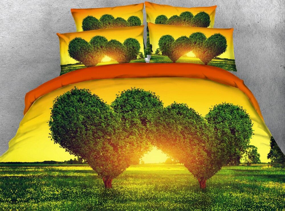 JF 152 Belle Nature Paysage Arbres En Forme De Coeur imprimer housse de couette ensemble 4 pcs