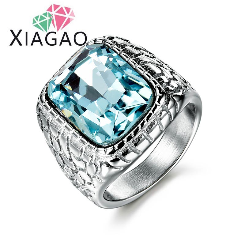 XiaGao Jewelry XIAGAO New Arrival Blue Square Men Jewelry 316L Stainless Steel Ring with Black Red 3A Zircon Crysta Fashion Steel Mens Rings