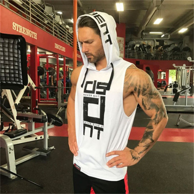 YEMEKE Cotton Tank Tops Hoodie Fitness Mens Bodybuilding Workout Tee fashion Muscle Male Activewear Red black white 5