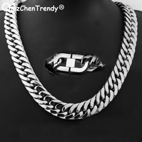 21mm 60cm Heavy Cuban Chains Men Hip Hop Jewelry Wholesale Silver Thick Stainless Steel Long Big Chunky hiphop Necklace Gif