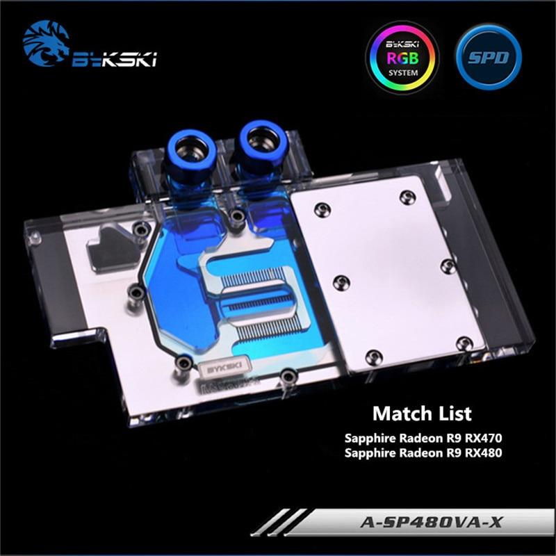 Bykski Full Coverage GPU Water Block For Sapphire Radeon R9 RX470 RX480 Graphics Card A SP48OVA