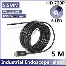 5M 5.5mm Diameter USB Waterproof 6 Led Endoscope Borescope Inspection Wire Camera