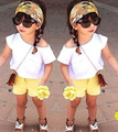TZ317,2017 Summer Children Girl Clothing  Baby girls Clothes Set Flower 3Pcs kids clothes set White Shirt+Yellow Shorts+hair