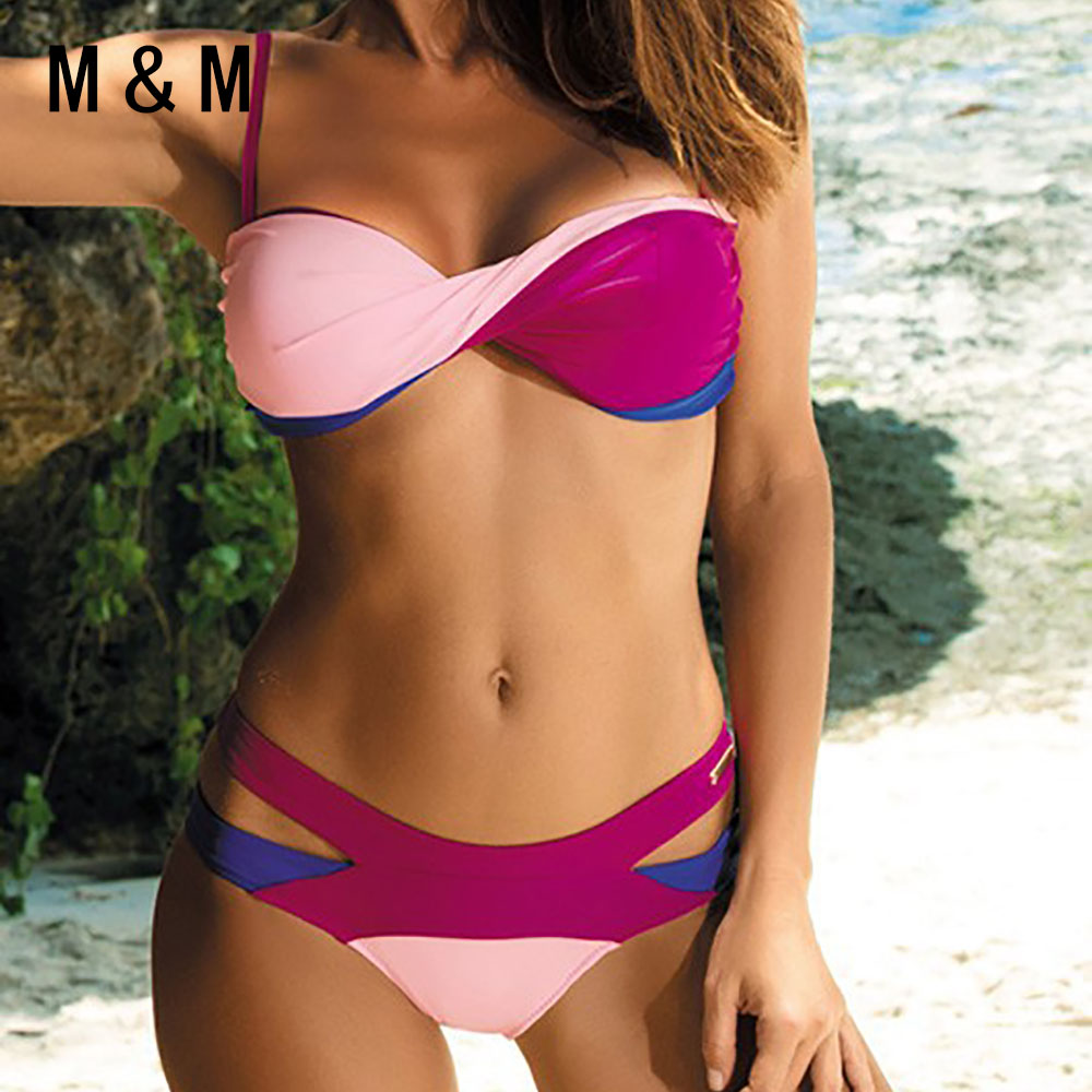 Bandage Swimwear Maillot Push-Up Bath-Suit Beach-Biquini Mid-Waist Sexy Bain De Patchwork