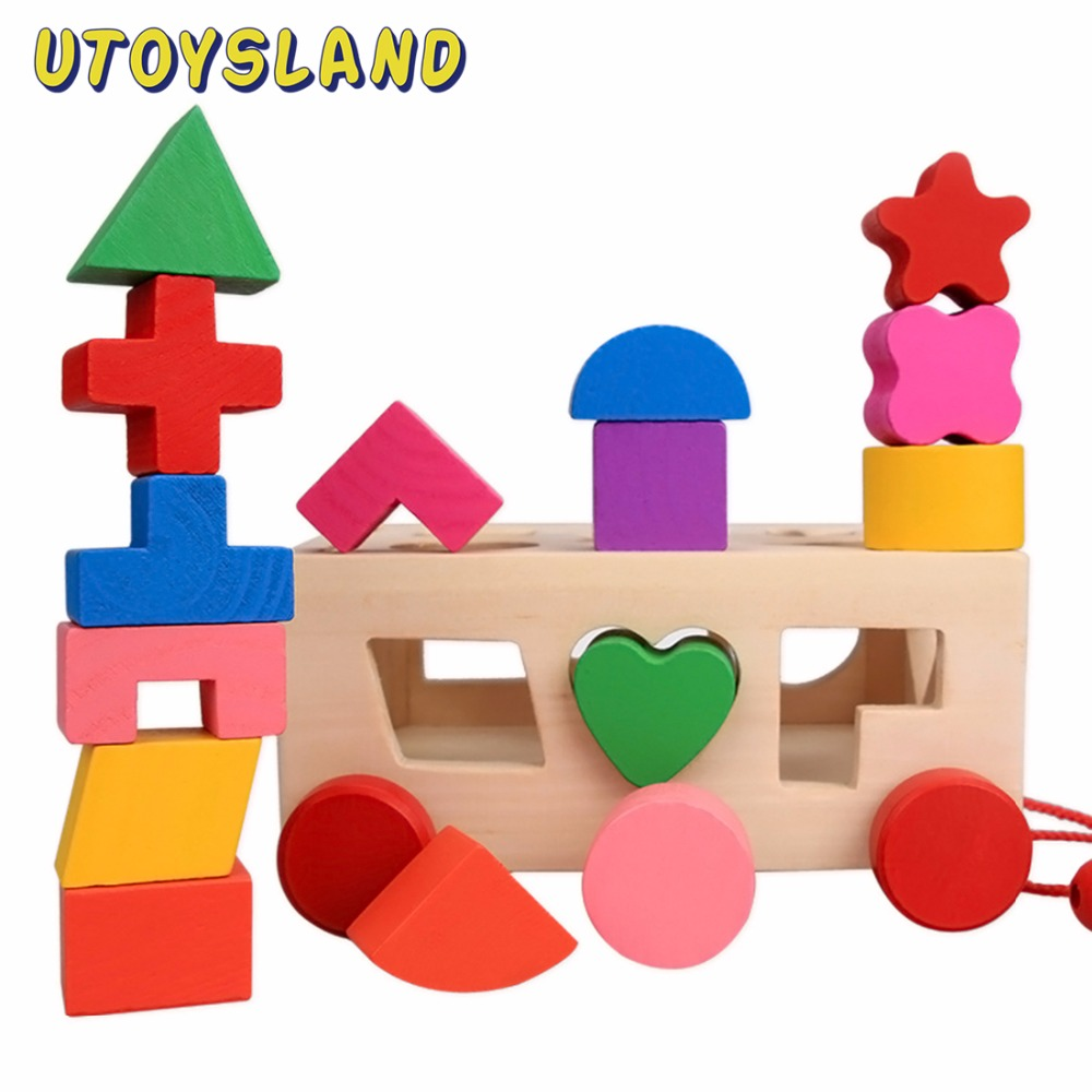 UTOYSLAND 15 Holes Intelligence Box Shape Sorter Cognitive Matching Wooden Building Blocks Baby Kids Children Educational Toys 13 holes wooden toys intelligence box for shape sorter cognitive and matching building sorority eductional toys for children