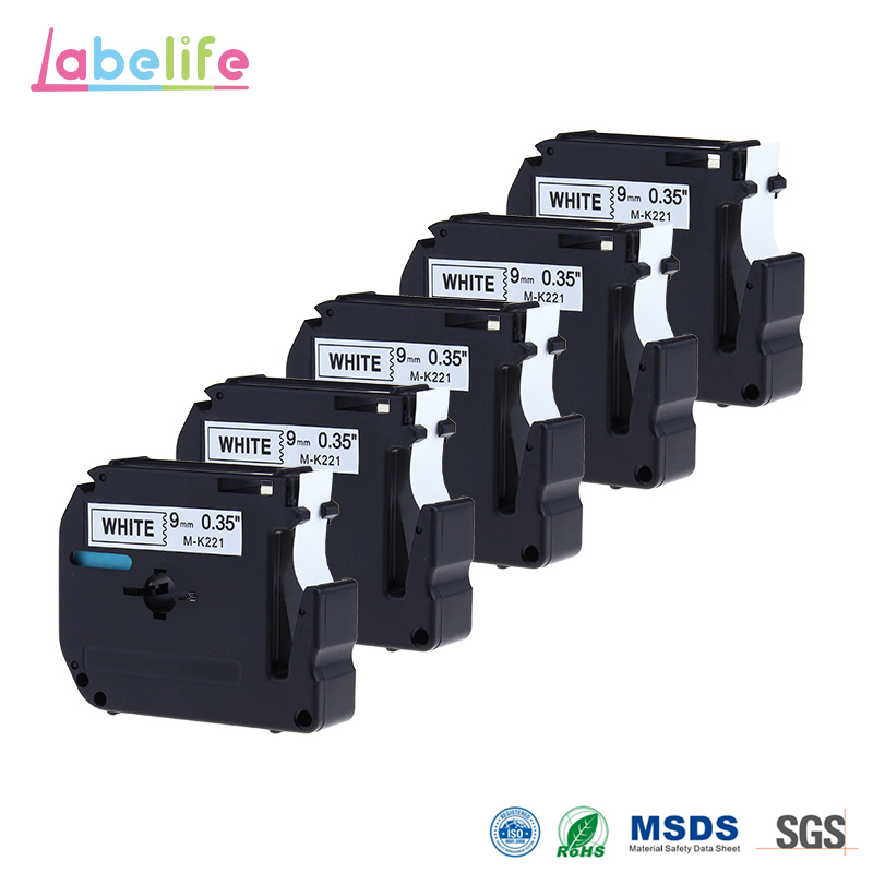 Labelife 5 Pack M221 M-K221 MK221 M Tape Black on White for Brother P Touch Label Maker PT-90 PT-M95 PT-70BM PT-70 PT-65 PT-85 ...