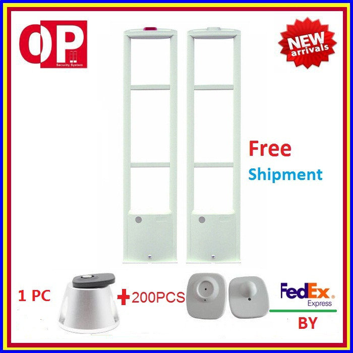 2018 hot model! eas factory eas antenna rf security system for shopping mall and supermarket+200 pcs Tag +1PC detacher