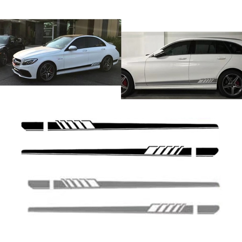 Free Delivery Car Sticker Racing Stripe Body Side Skirt For Benz C Class W205 AMG Edition 507 New