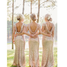 Champagne Scoop Sequined Floor Length Bridesmaids Dress Short Sleeves In Stock Fast Shipping  vestido de noiva Women Dress