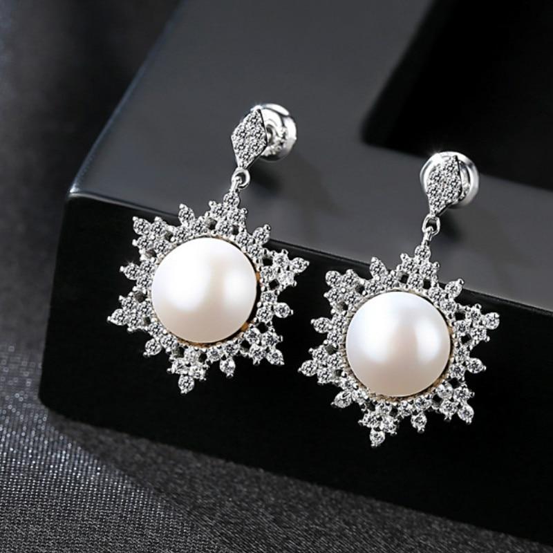 YUEYIN Silver 925 Earrings 100 Nature Pearl Drop Earrings for Women Fashion Personlity Temperament Dangle Earings Femme in Earrings from Jewelry Accessories