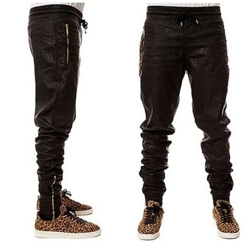 Black PU Leather Pants Men Brand Motorcycle Faux Leather Zipper Pants Joggers Men Casual Slim Fit Skinny Hip Hop Trousers Men