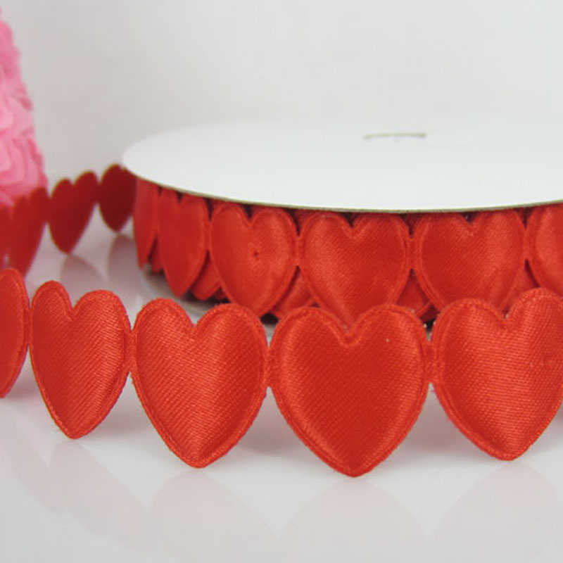 1Roll 20Yards Red Connect Padded Felt Heart Applique/Craft Wedding Decorations 16mmx16mm